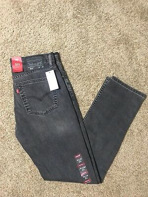 NWT Authentic Levis 511 Slim Fit Gray Black Jeans With Stretch (2079)
