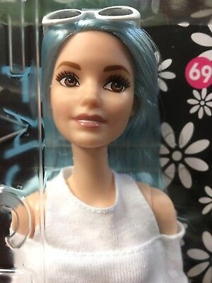 Mattel Barbie Fashionistas Blue Beauty #69 cold shoulder tall doll blue hair