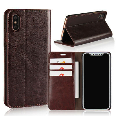 iPhone X/XR/XS/MAX Genuine Leather Wallet Case Protective Cover 3 Card Holder UK