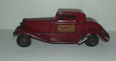 Vintage Girard Fire Chief Wind Up Pressed Steel Car With Siren