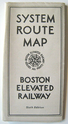 Vintage Boston Elevated Railway System Route Map Subway Trackless Trolley