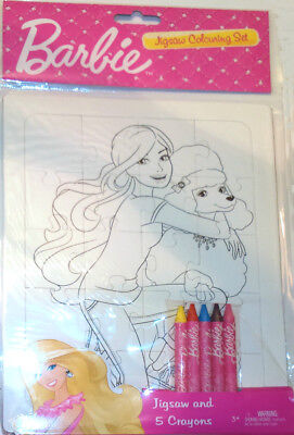 BARBIE COLOUR-IN JIGSAW with 5 WAX CRAYONS Kids Activity DOLL POODLE HUG GIFT
