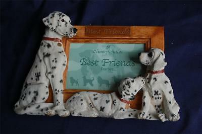 """Dalmatians Sculpted Ceramic & Wood """"Best Friends"""" Picture Frame Country Artists"""