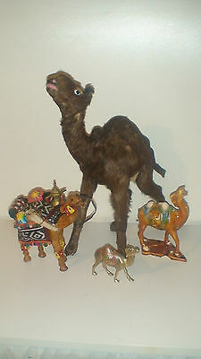 Vintage Leather Clad Caravan Trader  Camel Figurine  All Pieces Handmade!!!
