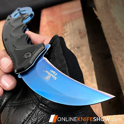 SPRING ASSISTED TACTICAL FOLDING KARAMBIT BLADE Blue Steel Claw Pocket Knife NEW