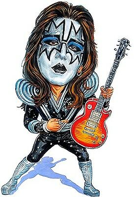 """Kiss Ace Frehley """"Spaceman"""" Caricature 70's-80's Heavy Metal Sticker or Magnet"""