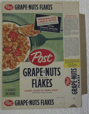 1950-60s Post Grape Nuts Flakes Personalized Labels Offer NM Unused File Box