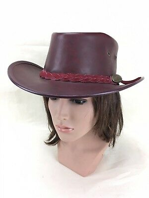 Vintage Boomerang Leather Hide Hat Bush Maroon Made in Australia Outback Banded