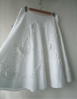 Vintage Prue Acton sz 12 White Damascus Cotton Skirt