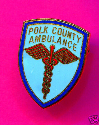 Polk County Ambulance Pin Vintage Gold Blue And Red Pin 2 Cm X 2.5 Cm Pin