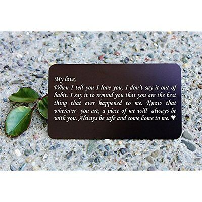 Engraved Aluminum Wallet Love Note Insert, Metal Card Mini - Deployment Gift For