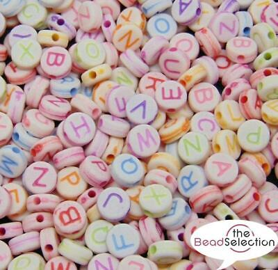 100 MIXED ALPHABET BEADS 7mm ROUND PASTEL COLOURS ACR110