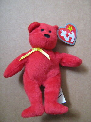 "Ty Original Teenie Beanie ""rachel The Red Bear"" With Tag."