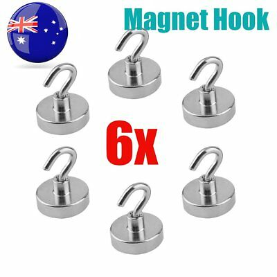 AU 6x 22kg Strongest Rare Earth Neodymium Magnet Magnetic Hanging Hooks Holder R