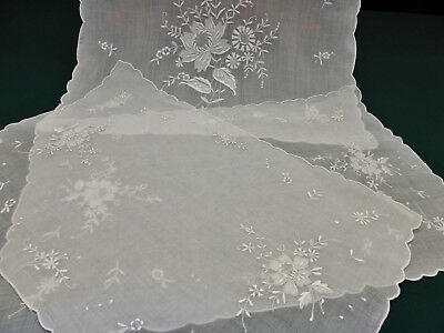 Vintage 9 Piece Set-Stunning Sheer Organdy Madeira Hand Embroidered