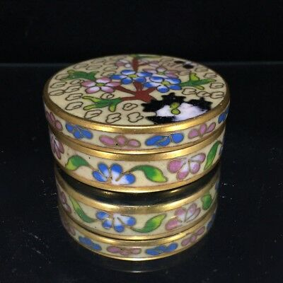 Vintage Chinese Miniature Cloisonne Enamel Box Yellow Floral On Brass
