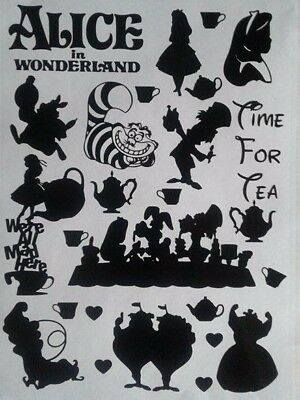 Alice in Wonderland Vinyl Decal Stickers Disney Inspired Car Wall Mug Glass Cat