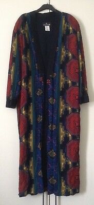 Glorious Vintage 80s Carole Little Viscose Boho Kimono Style Narrow Slv Day Coat