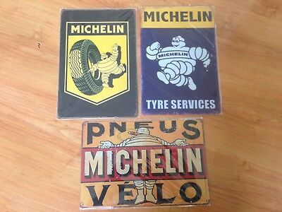 Old style Tin Metal Signs Michelin Tyres Set of 3 -Reproduction Garage Free Post