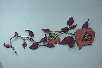 30cm PLUM RED WINE ROSE  Embroidered Sew Iron On Cloth Patch Badge APPLIQUE TRIM