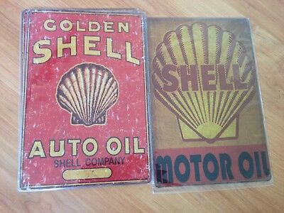 Old style Tin Metal Signs Shell Oil Set of 2 -Reproduction Garage Free Postage