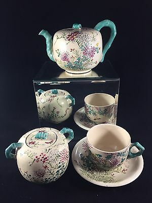 Antique Japanese Tea Set Kinkozan Satsuma  Teapot Sugarpot Cup Saucer SIGNED