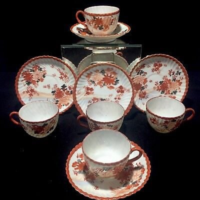 5x Antique Japanese Porcelain Cup & Saucer Imari Kutani SIGNED