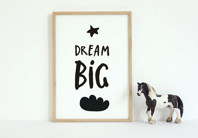 Dream Big Cloud Black & White Nursery Wall Art Tribal Prints | Unisex Baby 7x5'