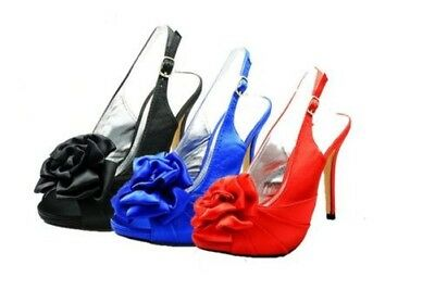 Ladies rosette peep toe sling back bridesmaid / Party shoes