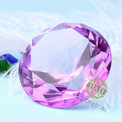 40mm Purpel Crystals Wedding Table Decor Diamond Pawerweight Ornament Gift