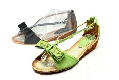 Ladies Canvas low wedge heel sandals with bow to front