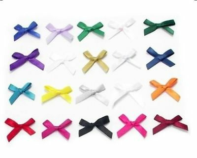 10-100 7mm Satin Mini Ribbon Bows Party Gift Crafts Wedding Small Pre-Tied Bow