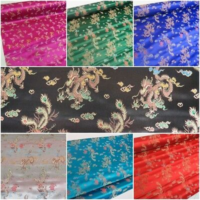 Traditional Brocade Chinese Dragon Dress Fabric Embroidered Silk Satin Oriental