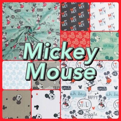 Disney Mickey and Minnie Mouse 100% Cotton Patchwork Quality Craft Fabric