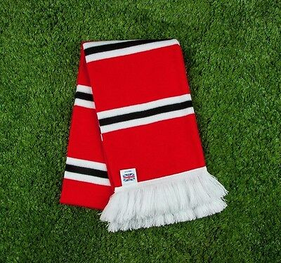 Manchester United Colours Retro Bar Scarf - Red, Black & White - Made in UK