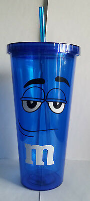 M&M Double Wall Insulated Pastic Tumbler Cup Big Face Blue Character