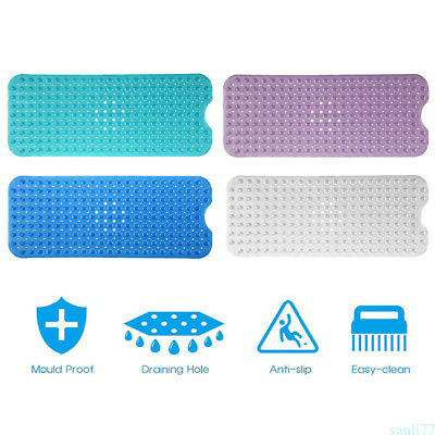 Washable Bath And Shower Mat Extra Long Large Non Slip PVC Mat With Suction YX