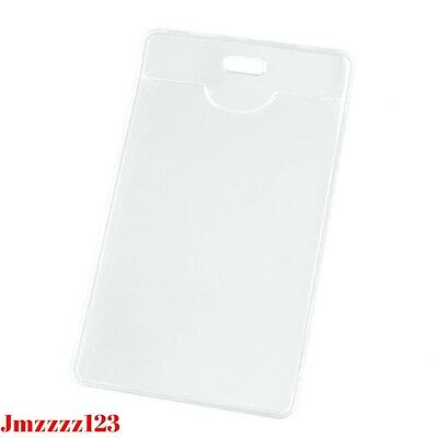 2 PCs Clear Plastic Vertical Name Tag ID Card Holder ***AUSSIE SELLER***