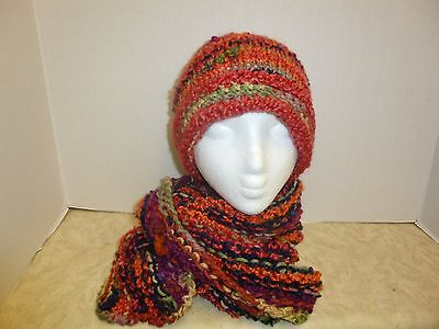 Hand Knitted Beanie Hat and Scarf Set