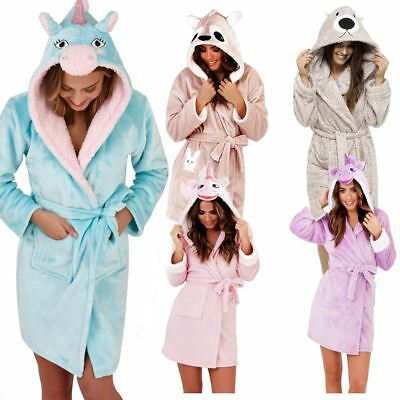 Ladies Women Luxury Dressing Gown Soft Robe Animal Character Cosy Fleece Hooded