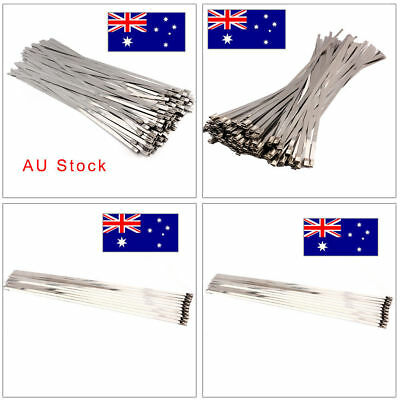100Pcs Exhaust Wrap Coated Locking Cable Zip Ties Stainless Steel Bulk 4.6*300mm