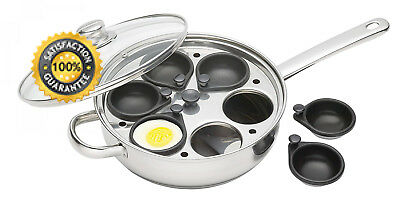 Kitchen Craft Induction 6 Non Stick Cup Poached Egg Large 28cm Poacher Pan
