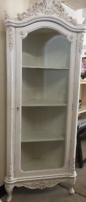French Louis Style White Painted Corner  Display Cabinet Shabby Chic Style