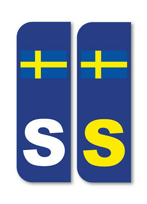 2 x S FLAG SWEDEN Car Number Plate vinyl stickers