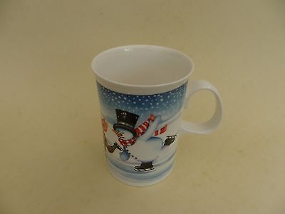 "Dunoon Scotland ""Mister Snowman"" Ice Skating Mug by Ruth Boden, 4""tall."