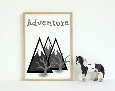 Adventure Unisex Play Room Art Print | Grey Mountains Wall Decor 7x5 Nursery