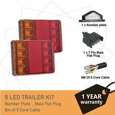 2 x 8 LED TRAILER LIGHTS KIT,1 x Trailer Plug, 8M 5 CORE CABLE, 1x No. Plate 12V