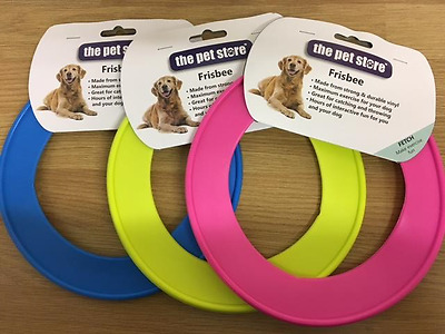 """Dog Frisbee Puppy Toy Fling A Ring 8.5"""" Strong Durable Vinyl 3 Colours"""