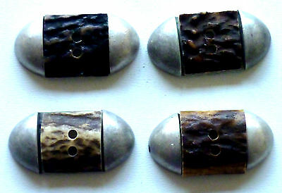 4 Traditional costume Buttons with Deer antler (Real antler) Inlett -