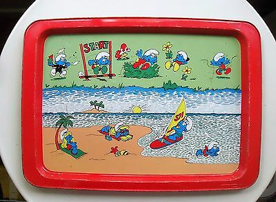 VINTAGE Collectable Willow Australia Metal Tray *SMURFS at the Beach